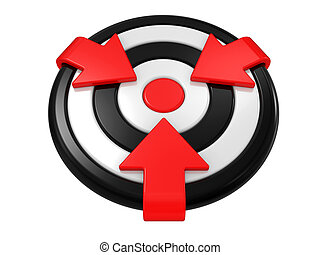 New target and arrows isolated on a white background