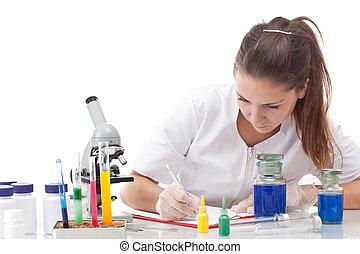 Serious female scientist