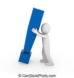 3d human exclamation mark blue