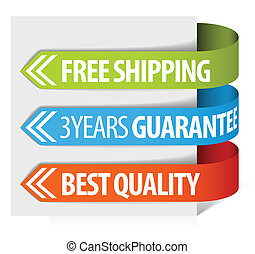 tags for free shipping, guarantee and quality - Set of paper...