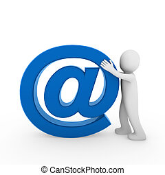 3d human email symbol blue business isolated