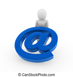 3d human email blue - 3d human email symbol blue business...
