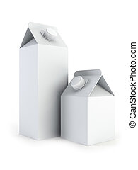 isolated blank milk boxes 3d rendering