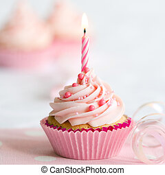 Birthday cupcake - Cupcake decorated with a single candle
