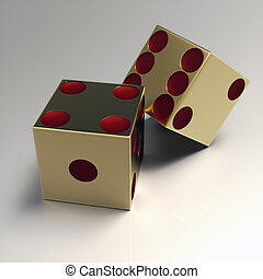 Render of two right handed golden casino dice with red eyes...