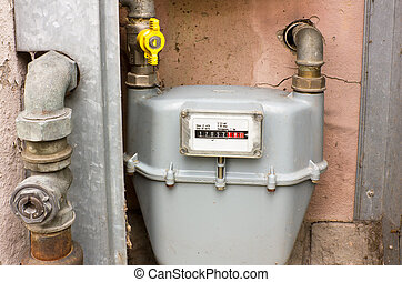 natural gas meter - cabinet with natural gas meter for...