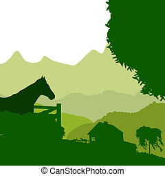 Green farm - Farm on mountain site, background illustration