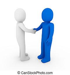 3d human business handshake teamwork white background