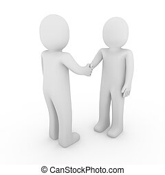 3d man business handshake isolated team white background