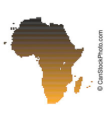Map of Africa in broad lines with brown gradient