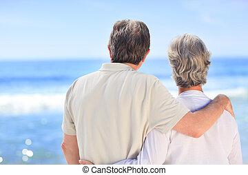 Senior couple looking at the sea