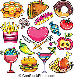 Food icons 1 - Set of ready-to-eat foods