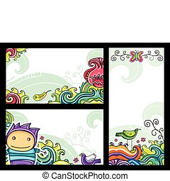 Decorative floral banners 1 - Decorative floral banners with...