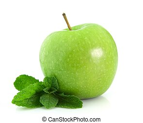Apple with mint - Green apple with mint leaf isolated on...