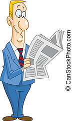 Businessman reading newspaper - Smiley businessman reading a...
