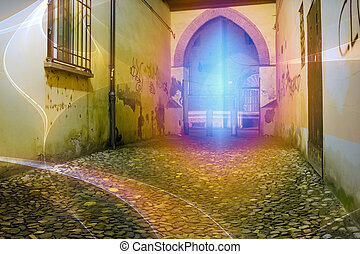 light graffiti - lights on the gate and the court - light...