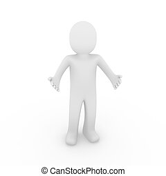3d man hello isolated welcome white background