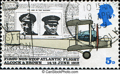 first non-stop Atlantic flight by Alcock and Brown - GREAT...
