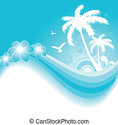 Tropical Background in Blue