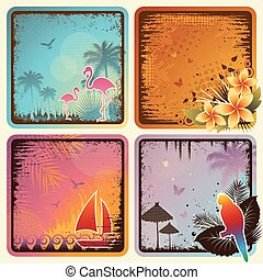 Tropical Cards Set - Vector set of four trendy tropical...