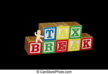 Tax Break Graphic - A plastic baby sitting on childrens toy...
