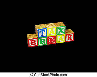 Tax Break Blocks - A set of childrens blocks spells out the...