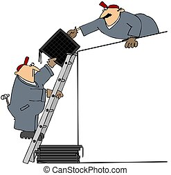 Men Installing Solar Panels - This illustration depicts two...