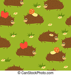 Seamless cute hedgehog background