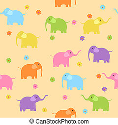 Seamless cute colorful elephants background