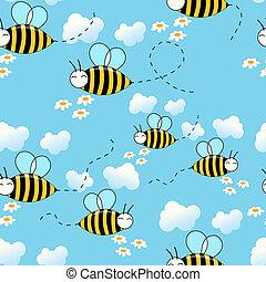 Seamless cute flying bees