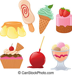 Set of cute vector desserts