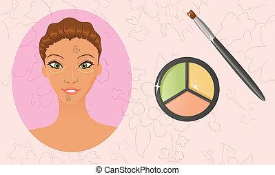 Using a color correction concealer palette