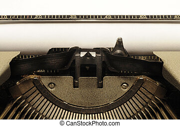 Closeup of old typewriter carriage circa 1950s