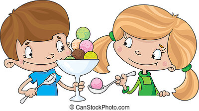 girl and boy with ice cream - illustration of a girl and boy...