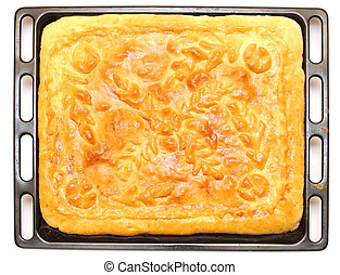 meat pie on white background