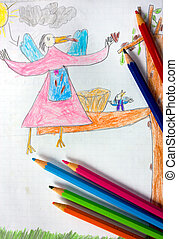 child drawings with colored crayon on scholastic exercise...