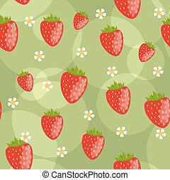 Seamless strawberries background - Seamless green background...