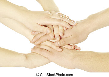 hands - pile of hands isolated on a white