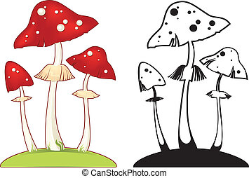 fly agaric - vector illustration with death cap fungus....