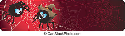 halloween banner with spiders