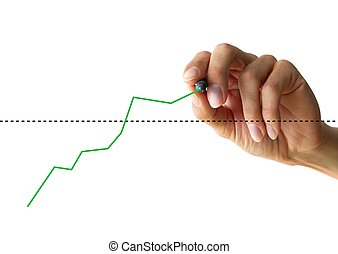 hand drawing a chart - a human hand drawing a business chart...