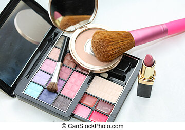 eye shadow palet, compact powder with lipstick and brush