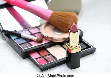 rosa,  palet, marca, lápiz labial, Arriba