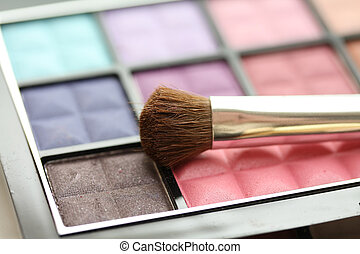palet, sombra, ojo, cepillo