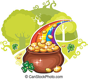 Pot of Gold - Vector illustration of St Patricks Day symbol,...