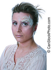Woman with a winter makeup