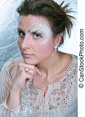 Woman with a winter makeup concept