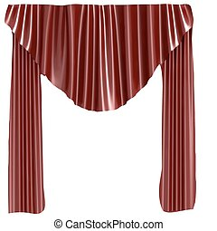 Red theater curtain. Vector