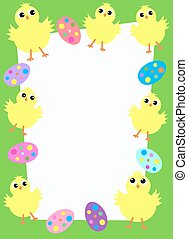 happy easter card with chickens and eggs