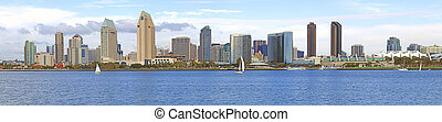 San Diego skyline panorama, CA. - A panoramic view of San...